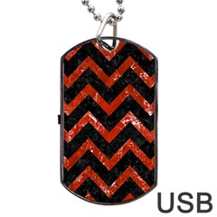 Chevron9 Black Marble & Red Marble Dog Tag Usb Flash (one Side) by trendistuff
