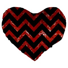 Chevron9 Black Marble & Red Marble Large 19  Premium Flano Heart Shape Cushion by trendistuff