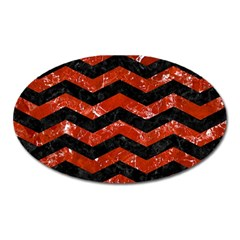 Chevron3 Black Marble & Red Marble Magnet (oval) by trendistuff