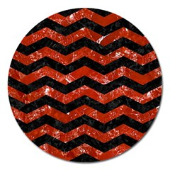 Chevron3 Black Marble & Red Marble Magnet 5  (round) by trendistuff