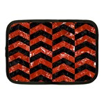 CHEVRON2 BLACK MARBLE & RED MARBLE Netbook Case (Medium) Front