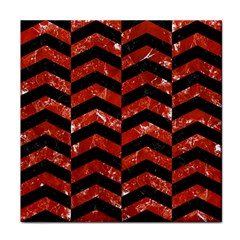 Chevron2 Black Marble & Red Marble Face Towel by trendistuff