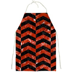 Chevron2 Black Marble & Red Marble Full Print Apron by trendistuff