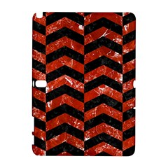 Chevron2 Black Marble & Red Marble Samsung Galaxy Note 10 1 (p600) Hardshell Case by trendistuff