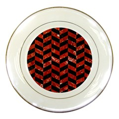 Chevron1 Black Marble & Red Marble Porcelain Plate by trendistuff