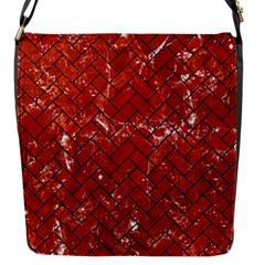Brick2 Black Marble & Red Marble (r) Flap Closure Messenger Bag (s) by trendistuff