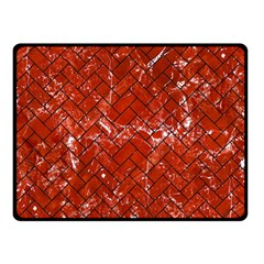 Brick2 Black Marble & Red Marble (r) Double Sided Fleece Blanket (small) by trendistuff