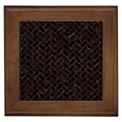 Brick2 Black Marble & Red Marble Framed Tile by trendistuff