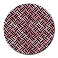 Woven2 Black Marble & Red & White Marble (r) Round Mousepad by trendistuff
