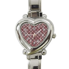 Woven2 Black Marble & Red & White Marble (r) Heart Italian Charm Watch by trendistuff