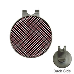 Woven2 Black Marble & Red & White Marble Golf Ball Marker Hat Clip by trendistuff