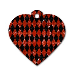 Diamond1 Black Marble & Red Marble Dog Tag Heart (two Sides) by trendistuff