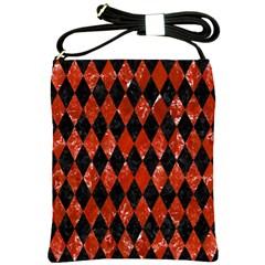 Diamond1 Black Marble & Red Marble Shoulder Sling Bag by trendistuff