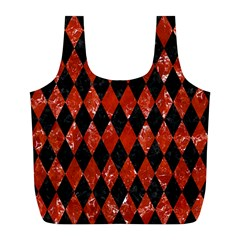 Diamond1 Black Marble & Red Marble Full Print Recycle Bag (l) by trendistuff