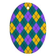 Texture Background Argyle Teal Ornament (oval)  by Jojostore