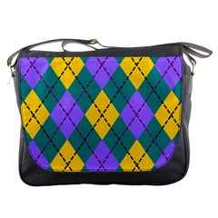 Texture Background Argyle Teal Messenger Bags by Jojostore
