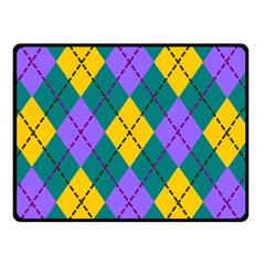 Texture Background Argyle Teal Double Sided Fleece Blanket (small)  by Jojostore
