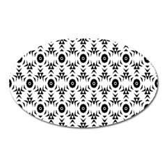 Black White Flower Oval Magnet by Jojostore