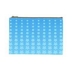 Blue Stars Background Line Cosmetic Bag (large)  by Jojostore
