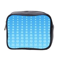 Blue Stars Background Line Mini Toiletries Bag 2 Side by Jojostore
