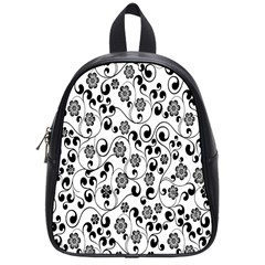 Black White Floral School Bags (small)  by Jojostore