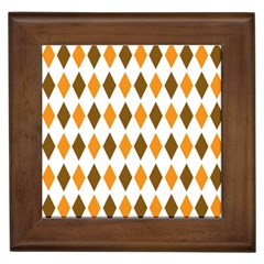 Brown Orange Retro Diamond Copy Framed Tiles by Jojostore