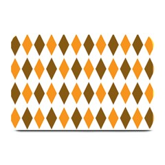 Brown Orange Retro Diamond Copy Plate Mats by Jojostore