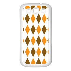 Brown Orange Retro Diamond Copy Samsung Galaxy S3 Back Case (white) by Jojostore