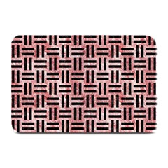 Woven1 Black Marble & Red & White Marble (r) Plate Mat by trendistuff
