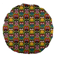 Eye Owl Colorful Cute Animals Bird Copy Large 18  Premium Flano Round Cushions by Jojostore