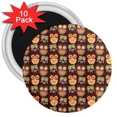Eye Owl Line Brown Copy 3  Magnets (10 Pack)  by Jojostore