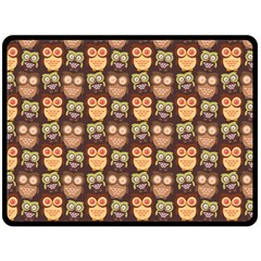 Eye Owl Line Brown Copy Fleece Blanket (large)  by Jojostore