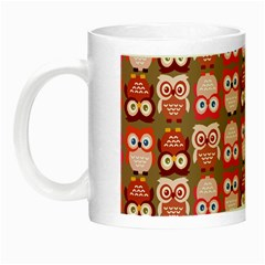 Eye Owl Colorfull Pink Orange Brown Copy Night Luminous Mugs by Jojostore
