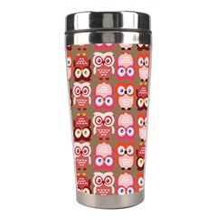 Eye Owl Colorfull Pink Orange Brown Copy Stainless Steel Travel Tumblers by Jojostore