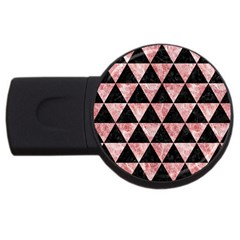 Triangle3 Black Marble & Red & White Marble Usb Flash Drive Round (2 Gb) by trendistuff