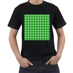 Gingham Background Fabric Texture Men s T Shirt (black) by Jojostore