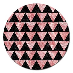 Triangle2 Black Marble & Red & White Marble Magnet 5  (round) by trendistuff