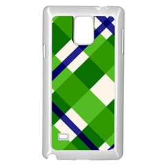 Green Plaid Samsung Galaxy Note 4 Case (White) by Jojostore