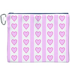 Heart Pink Valentine Day Canvas Cosmetic Bag (xxxl) by Jojostore