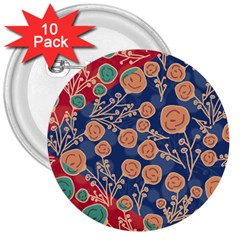 Floral Red Blue Flower 3  Buttons (10 Pack)  by Jojostore