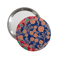 Floral Red Blue Flower 2 25  Handbag Mirrors by Jojostore