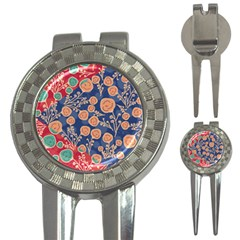 Floral Red Blue Flower 3 In 1 Golf Divots by Jojostore