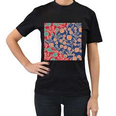 Floral Red Blue Flower Women s T Shirt (black) (two Sided) by Jojostore