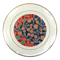 Floral Red Blue Flower Porcelain Plates by Jojostore