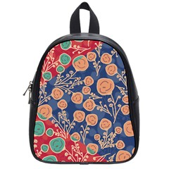 Floral Red Blue Flower School Bags (small)  by Jojostore