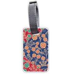 Floral Red Blue Flower Luggage Tags (one Side)  by Jojostore