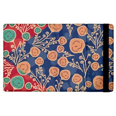 Floral Red Blue Flower Apple Ipad 3/4 Flip Case by Jojostore