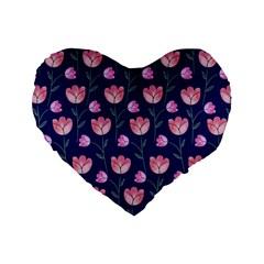 Flower Tulip Floral Pink Blue Standard 16  Premium Heart Shape Cushions by Jojostore
