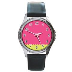 Pink Yellow Round Metal Watch by Jojostore