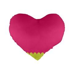Pink Yellow Standard 16  Premium Flano Heart Shape Cushions by Jojostore